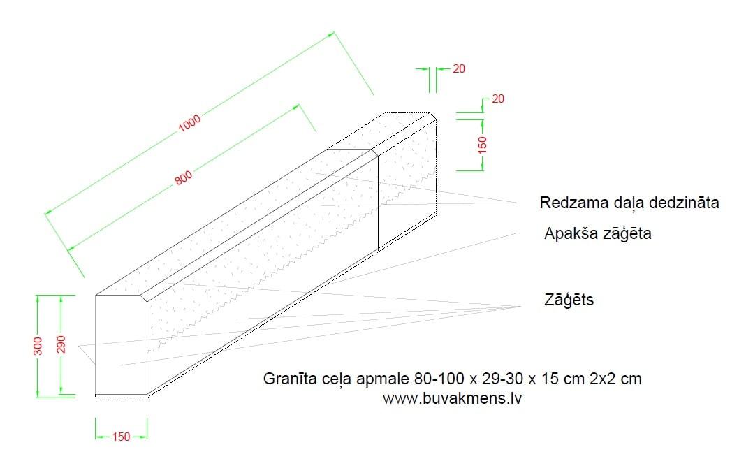 80 100x29 30x15 granīta ceļa apmale