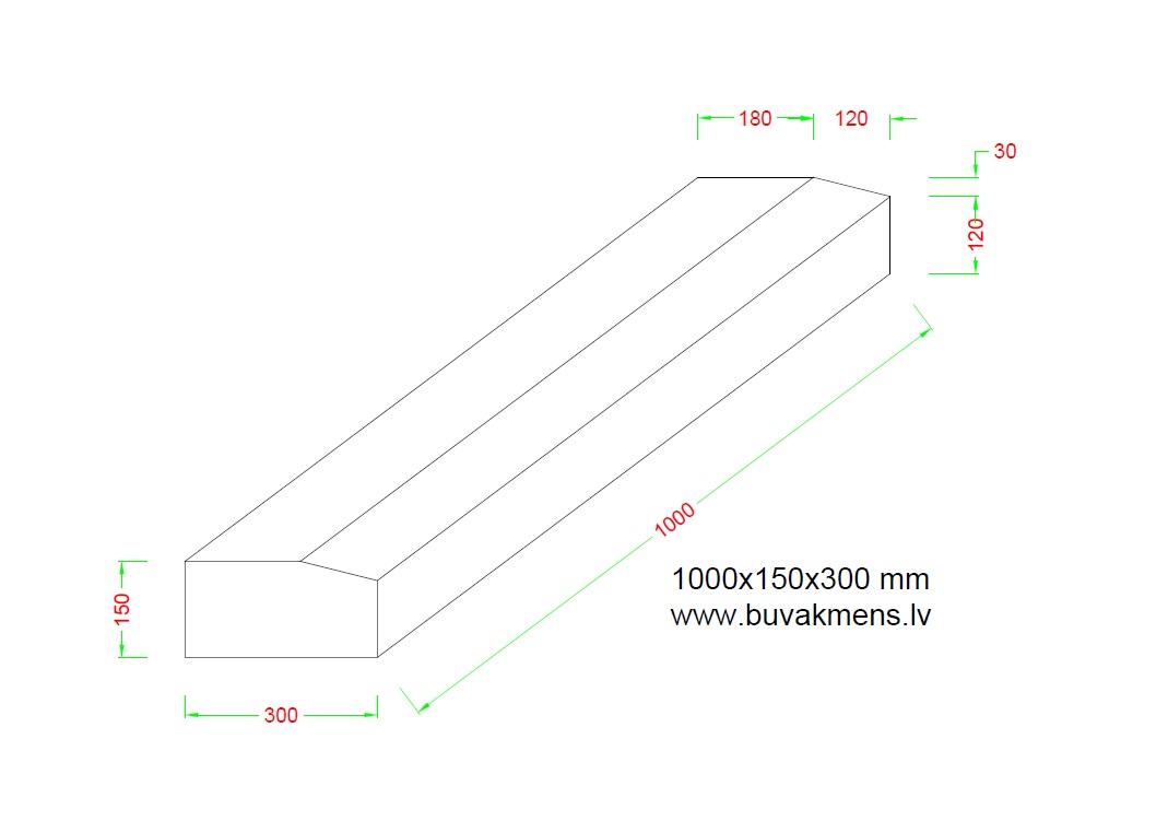 Ceļu granīta apmale 100x15x30 cm