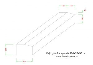 Ceļu granīta apmale 100x20x30 cm