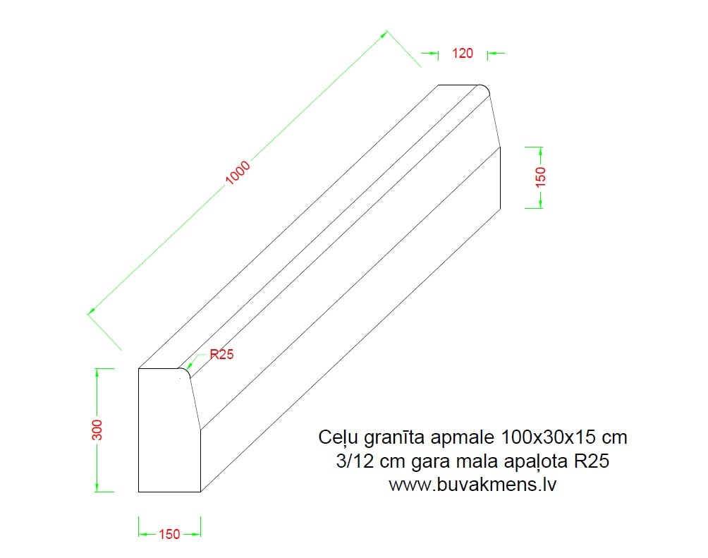 Ceļu granīta apmale 100x30x15 cm apaļota mala