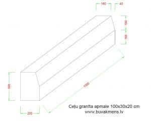 Ceļu granīta apmale 100x30x20 cm