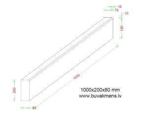Ietvju granīta apmale 100x20x8 cm